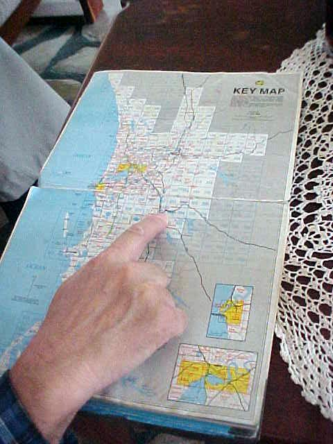 Reg shows me where exactly we are located in the Perth area.