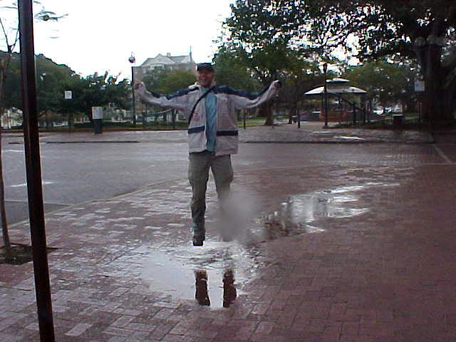 That is me dancing in the rain. Lovely, finally, again!