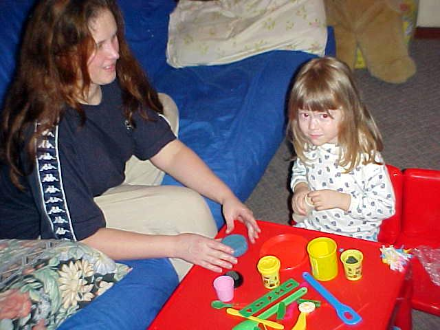 In the evening Madeleine asked me to join her in playing with Play Dough!