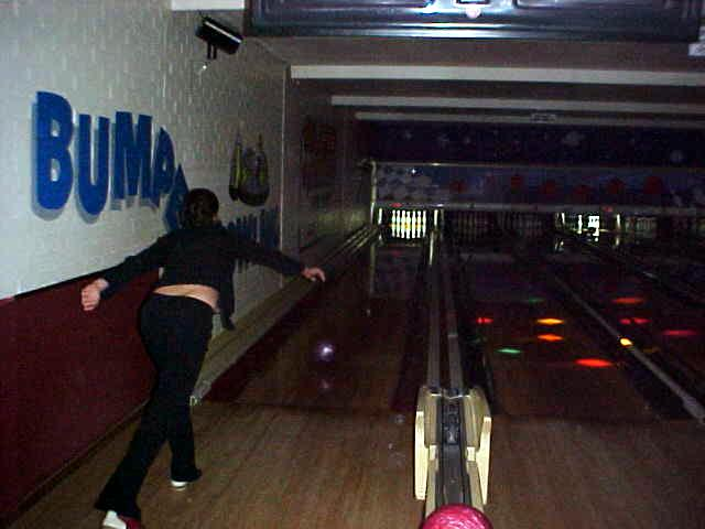 Liz kicks off a game of tenpin bowling!