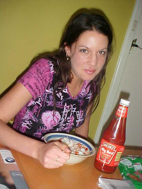 Funny 2: Liz favourite morning breakfast bite is white rice with tomato sauce...