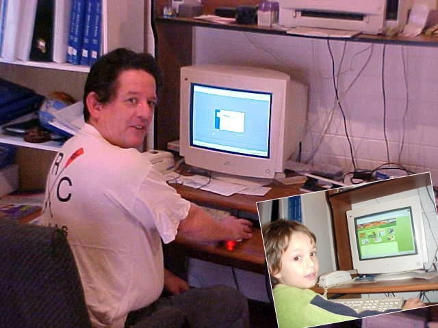 Business man becomes computerguy. Johns grandchild also loves the Internet. I had to spell L-E-G-O.com for him, but soon enough he was playing some online games.