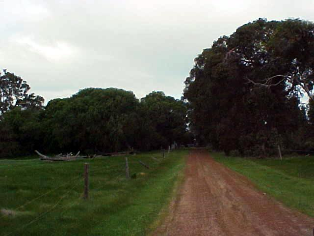 A dirt track leads us to the shed on John piece of land in Margaret River.