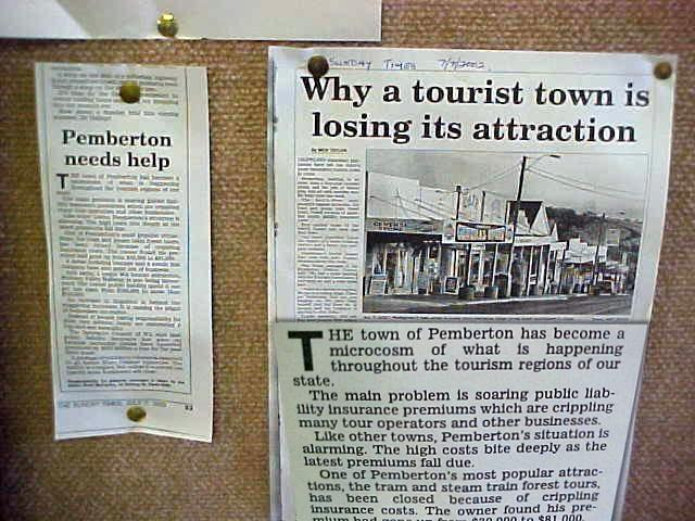 As seen at the Tourist Centre of Pembleton: closing attractions bring unnecessary negative publicity to this town. Now do journalists also learn other ways to write the stories?