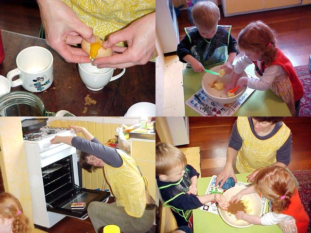Today we went to the neighbour Helena, where we played around creating gingerbread with her son Max. You take the yellow of the eggs, butter, heat up the oven and mix the stuff together with cinnamon.