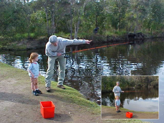 Worldtraveller teaches Josiene to fish.