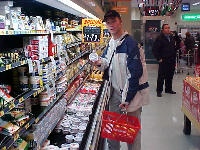 At the supermarket in the city Greg told me to get whatever I would need on the 2,5 days bus trip. Food, drinks, whatever, he would pay for it. Cheese dip?