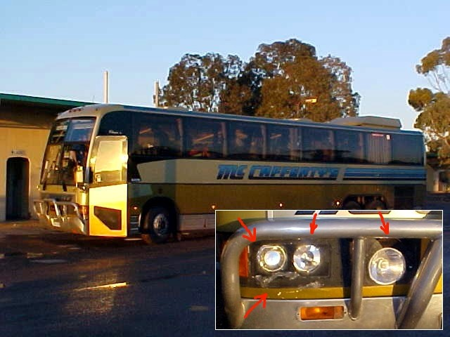 In Caiguni we had a breakfast stop and checked out the damage on the bus. The lights did not work any more....