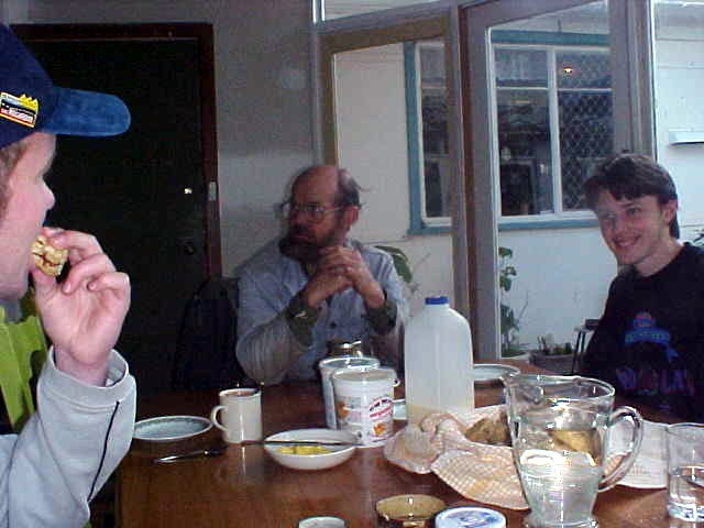 Eating grandma s biscuits in the kitchen of the family home with father Andrew and Michaels brother Paul.