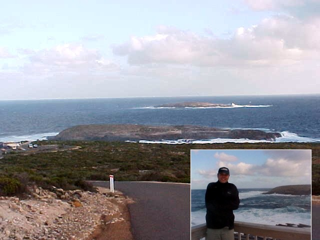 At the Cape du Couedic, where waves hit high and the wind is cold and strong. Yes, Marc, it was cold!