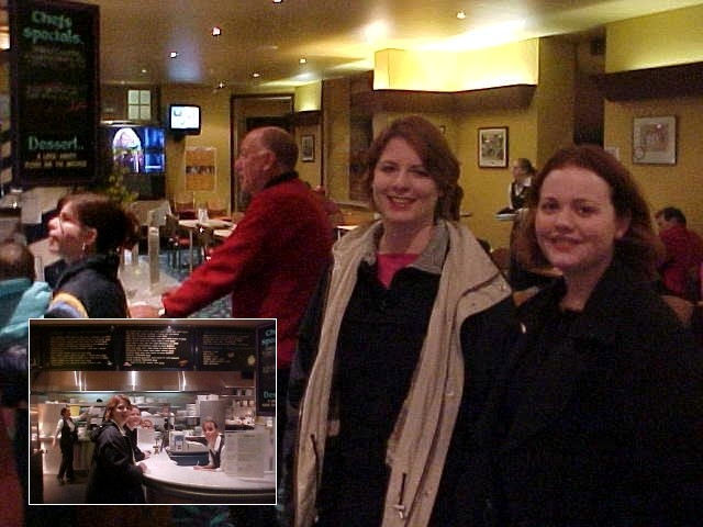 Phoebe and Tammy (right) took me out for dinner in Kingscote. - Hey, Ramon, you want a free glass of wine?   - Of course!