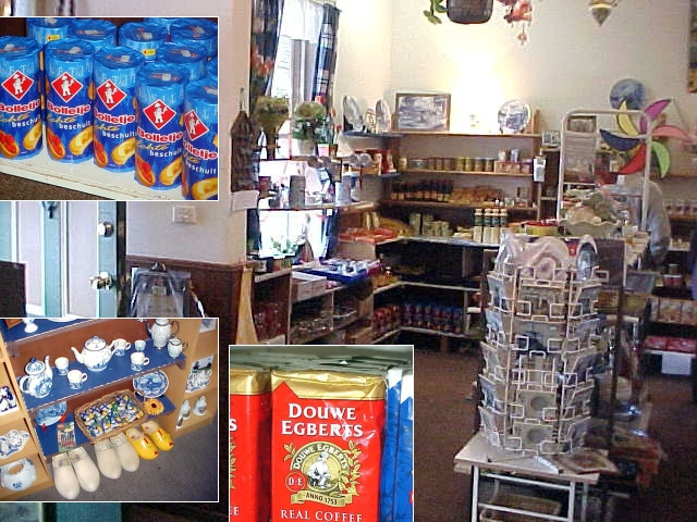 Ha! There was even a Dutch gift shop! Look at that, my beloved Dutch breakfast biscuits from Bolletje, wooden shoes (like we still wear them: NOT!) and as it says: REAL coffee. From Holland!