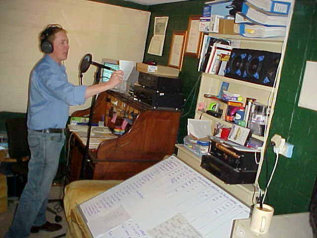 Gus in his little digital recording studio, where he records commercials, on-hold phone messages for corporate companies and new upcoming sounds for this website!
