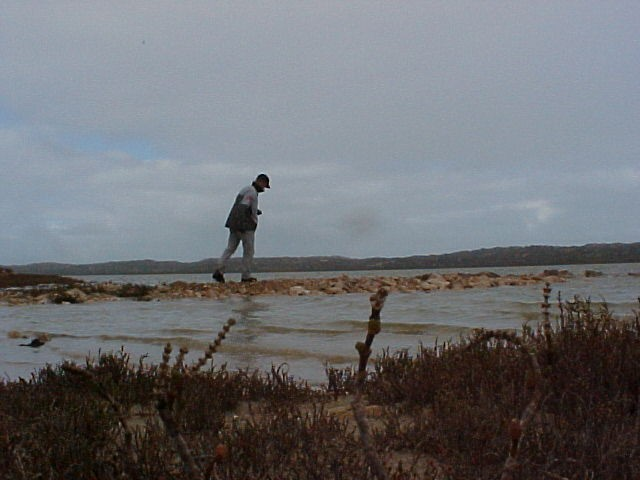 Walking along the lagoon in the Coorong Reserve...