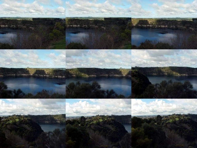 Panorama 9-shot: look from top-left to bottom-left to see the Blue Lake of Mt Gambier.