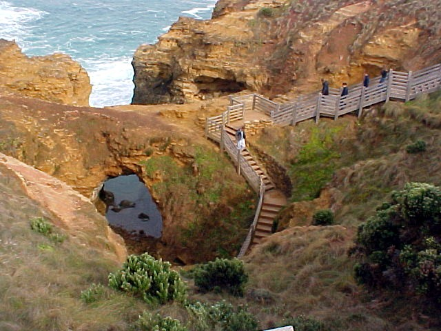 The stairs going down to the Grotto, a charming feature formed by erosion from the coast.