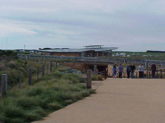 At The tourist attraction of Australia, they made this yellow path and created this whale-like building with toilets. That many people visit the Twelve Apostels every year.