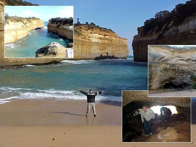 At Lord Ard Gorge, where I could stand there for only 2 seconds before waves build up to twice my size! The beach ends at this big cavy entrance in the rocks, where we could actually walk in for some 50 meters. Scary!
