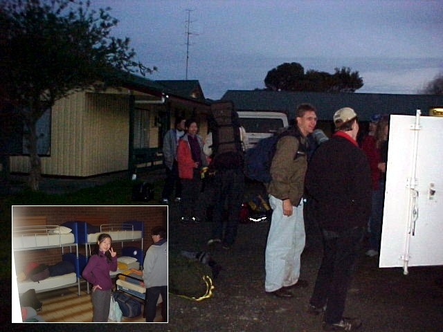 Unloading the trailer at the Ocean View apartments in Apollo Bay. Great rooms, we slept on the beds that were used by the athletes in the Olympic Park in Sydney during the Olympics!