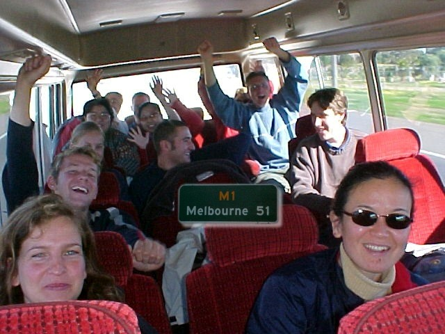 Melbourne in sight! Yeah!!! (Actually we celebrated surviving the Wayward bus tour)