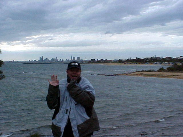 Ramon plays the tourist. It is windy. It is cold. It is Melbourne Winter.