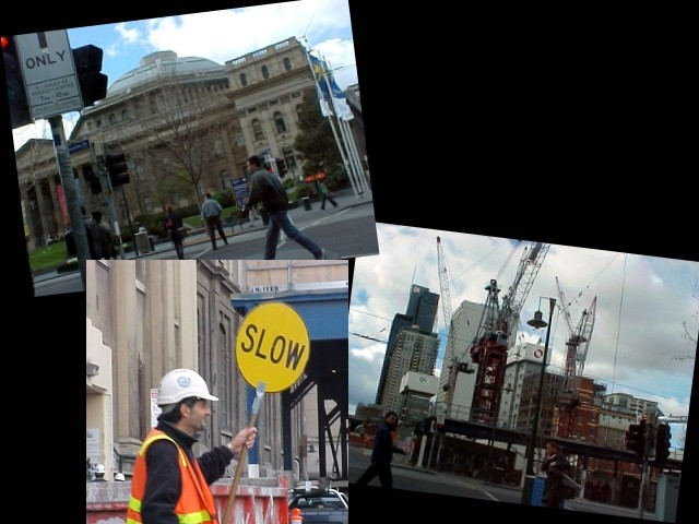 Melbourne is a city with its gigantic old buildings, beautiful. And it is the city of the eternal ongoing constructions.