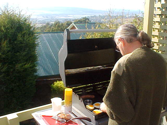 Philby prepares a big breakfast on the barbie. Look at that great weather!