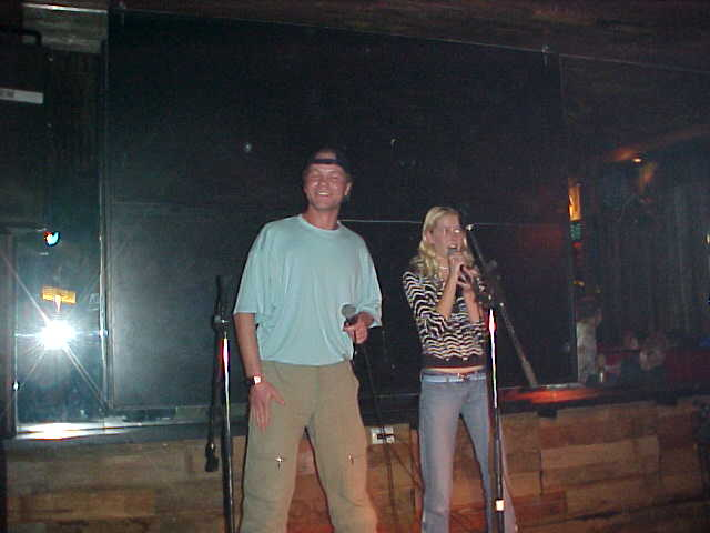 Embarrassing! Singing karaoke. Well, at least I sang one line some 36 times, while Em was the rapper of that Shaggy song It Wasnt Me.