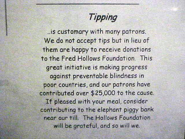 A great way to use tipping money! As seen on the menu...