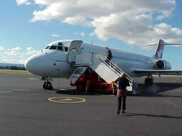 I got to Tasmania with Virgin Blue and I returned back to Melbourne again on this Qantas plane.