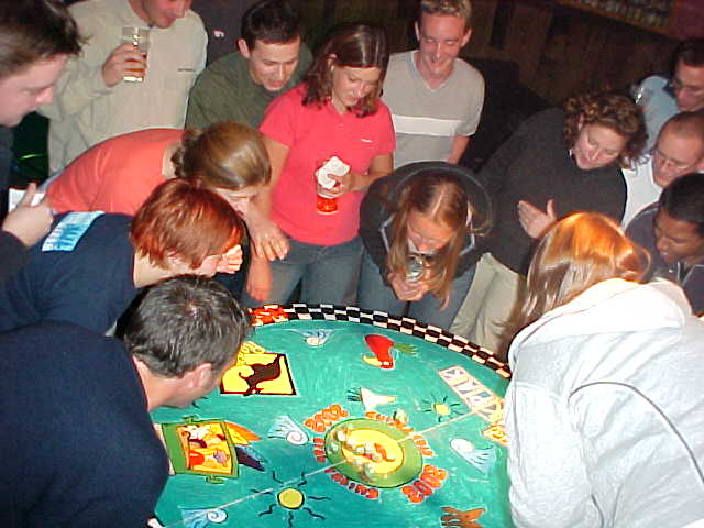 When the crabs are let loose in the middle circle of the table, they have to get to the side of the table, the finish line.