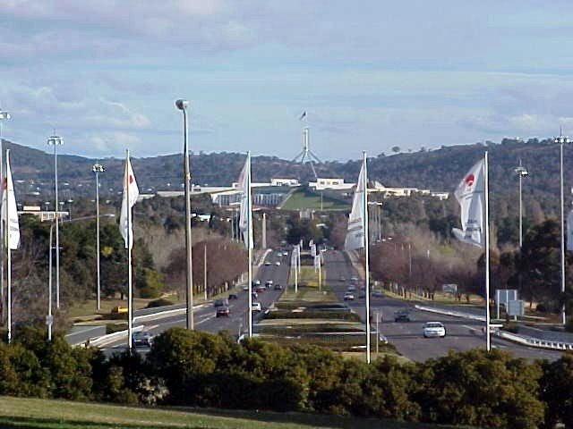 And this was the view from the flag pole, looking south towards the city centre. That flag pole there is on Capital Hill and locates the Parliament House.