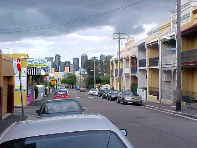 While walking down Glebe Street I looked left and saw the metropolis of Sydney in the distant.