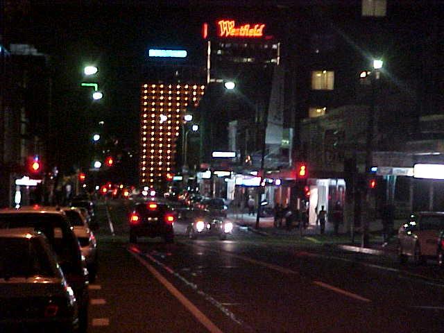 Street life at night in Surrey Hills.