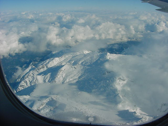 White snowy mountains, north of Vancouver! Wow!