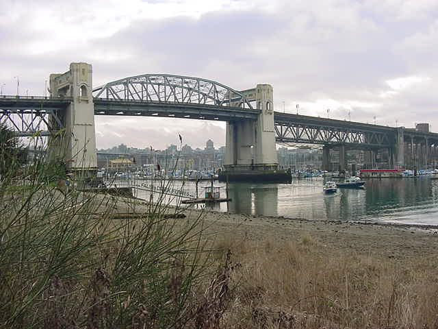 The Burrard Bridge over False Creek, as seen from the park.