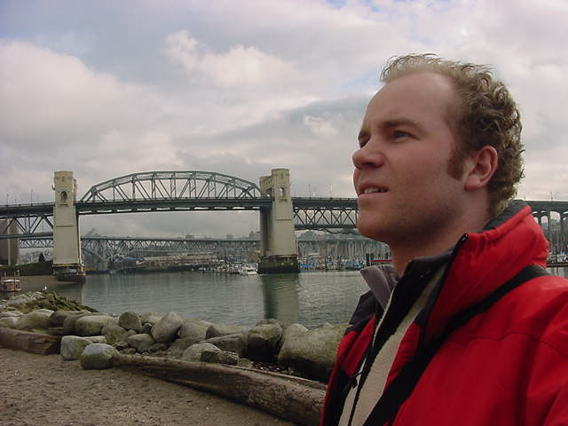 Me and the Burrard Bridge over False Creek, as seen from the park.