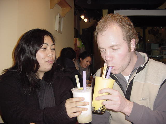 For a little get-out, Gail took me and two friends of her, to the Dragonball Teahouse south of Kitsilano, to drink some unique Taiwanese Bubbletea... Bubbletea??!
