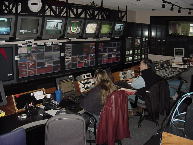In the backstage editing room they run the entire station with four people. Even the cameras on the studio floor are robot controlled by them. And they can see what is on at this moment on other stations too.