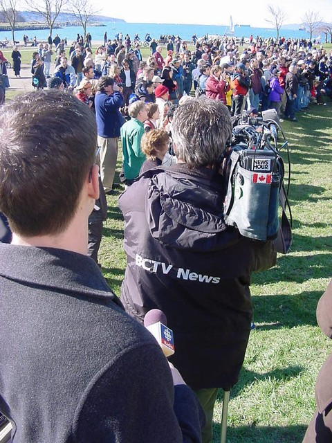The media (TV) arrived and could not simply film naked people, what if kids watch TV!? So they filmed the audience again.