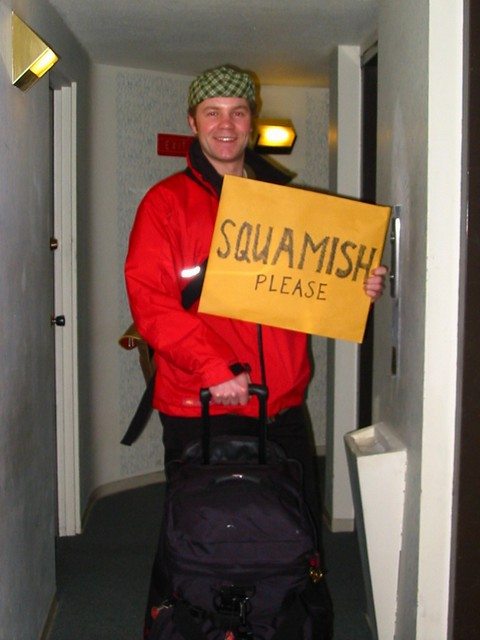 Gail photographed me with my hitchhiking sign in Vancouver. Ready to hit the road with my thumb for the first time in Canada!