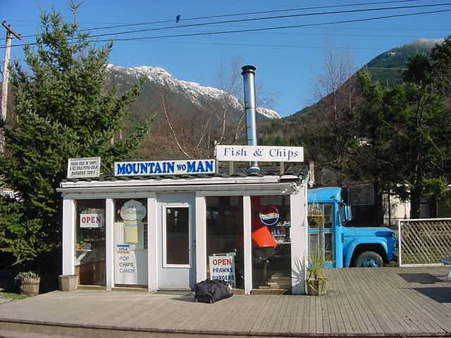 I was dropped off at this fish and chips shop in Britannia Beach.