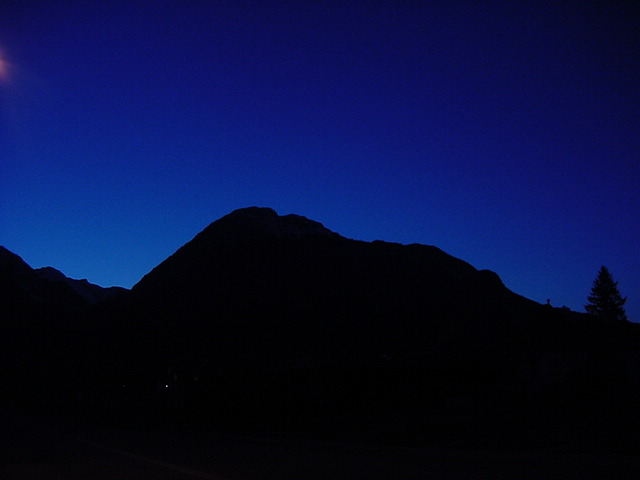 During our walk around town, I was pretty lucky with this shot in the darkness. One of the mountains surrounding Squamish.