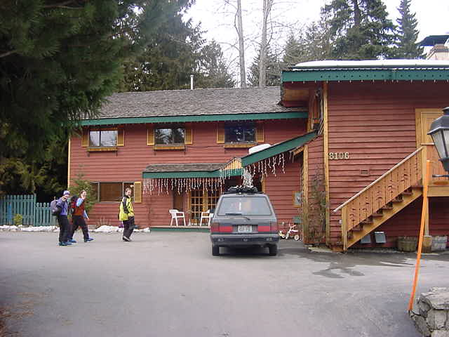 Finally arriving at the Cedar Springs Bed & Breakfast Lodge in Whistler!