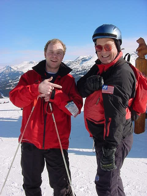 On Whistler mountain, with that American Scott, who loves to patriot around this place.
