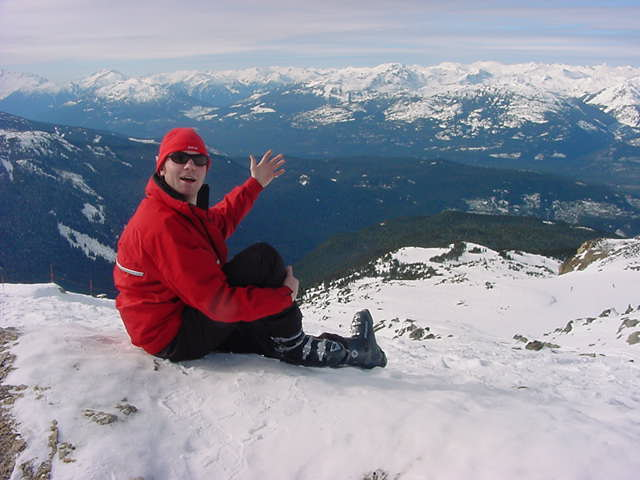 Memorable photographs for later. Me on top of my first Canadian mountain. What a view!