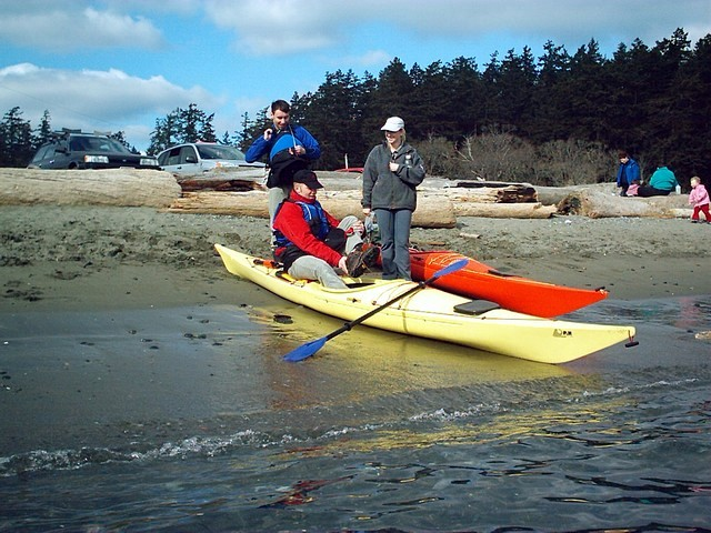 It was my first time ever to go kayakking and I am actually too tall for this kayak, even had to take my shoes off!