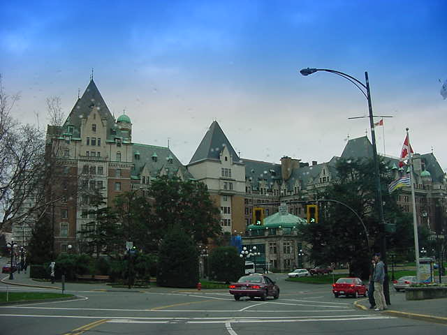 Approaching the Fairmont Empress Hotel in Victoria.