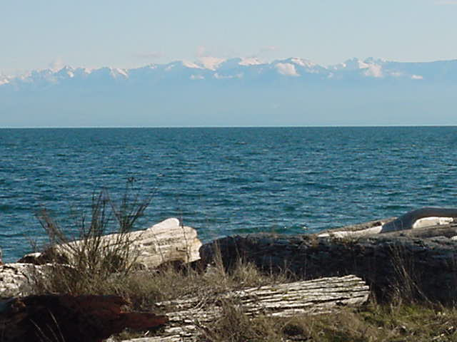 Along the southern coast line of Vancouver Island, as seen from the beach: the Olympic Mountains in Washington, USA.