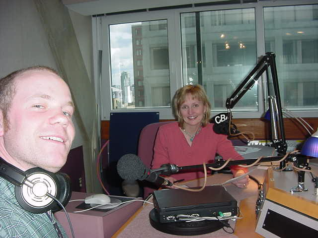 In the radio recording studio with hostess Kathryn, who had an interview with me.